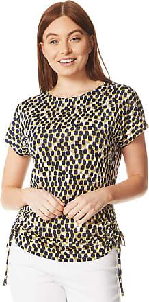 Roman Originals Women Spot Print Side Tie Jersey T Shirt - Short Sleeve Summer Classy Elegant Holiday Office Daywear Ladies Blouse Top - Yellow - Size 12