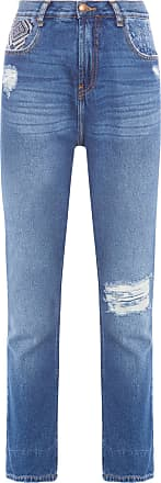 Cantão Calça Jeans Reta Patchwork - Azul