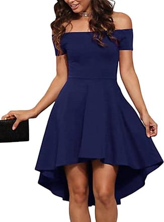 Yoins Women Off Shoulder Sexy Dress Short Sleeve Bodycon Evening Party Wedding Swing Dresses Navy