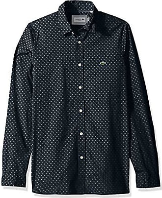 Lacoste Mens L/S All Over Print Casual Non Button Down Collar Slim FIT, Navy Blue/White, 2XL