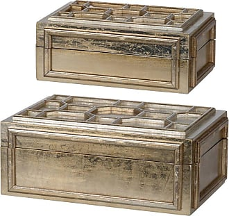 A & B Home Gold Decorative Boxes - Set of 2 - DF42268