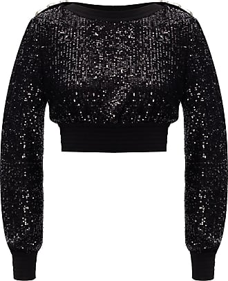 Balmain Sequined Top Womens Black