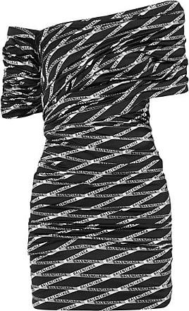 fb7d49a66c01 Balenciaga Off-the-shoulder Ruched Printed Stretch-satin Mini Dress - Black
