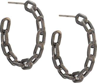 Jack Vartanian Par de brincos Chain P prata com banho ródio negro - Prateado
