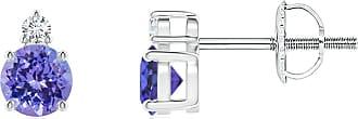 Angara Valentine Day Sale - Basket-Set Round Tanzanite Stud Earrings with Diamond