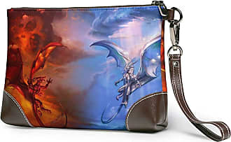 GLGFashion Womens Leather Wristlet Clutch Wallet Dragon Storage Purse With Strap Zipper Pouch