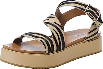 Inuovo Womens Leather Tiger Flatform Sandals 6 Multi Coloured