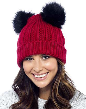 Foxbury Ladies Chunky Rib Knit Hat with 2 Faux Fur Bobbles Red