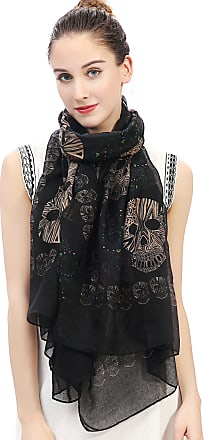 Lina & Lily Sugar Skull Print Womens Large Scarf Lightweight (Black)