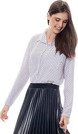 101 Resort Wear Camisa 101 Resort Wear Crepe Estampada Poas Fundo Branco