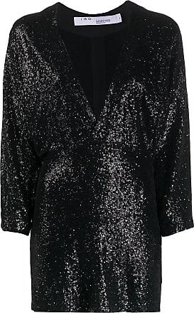 Iro deep V-neck sequin embroidered dress - Black