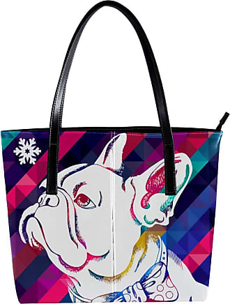 Nananma Womens Bag Shoulder Tote handbag with Funny Bulldog Geometric Background Print Zipper Purse PU Leather Top-handle Zip Bags