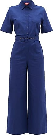 Staud Zavey Belted Linen-blend Canvas Jumpsuit - Womens - Blue