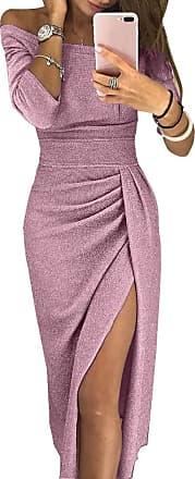 junkai Women Solid Color Off Shoulder Ruched Thigh Slit Dress Sexy Slim Dress Party Dress Evening Dress S-XL (M, Pink)