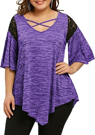 Kobay Womens T-Shirt Tops, Ladies Fashion Plus Size Flare Sleeve Asymmetrical Tunic Lace Tank Blouse Top Purple