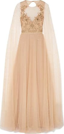 Marchesa Cape-effect Embellished Glittered Tulle Gown - Blush