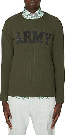 Junya Watanabe Junya watanabe man Army logo crewneck knitwear KHAKI M