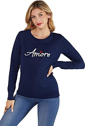 Yumi Navy Embroidery Amore Knit Jumper