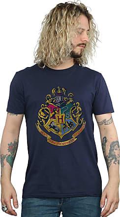 Harry Potter Mens Hogwarts Distressed Crest T-Shirt XXX-Large Navy Blue