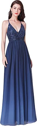 Ever-pretty Womens V Neck Sequined Floor Length Long Christmas Holiday Party Dresses Navy Blue 10UK