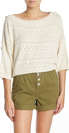 Free People Womens White 3/4 Sleeve Jewel Neck Crop Top Sweater Size: M