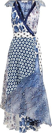 Diane Von Fürstenberg Ava Contrast Panel Silk Wrap Dress - Womens - Blue Print