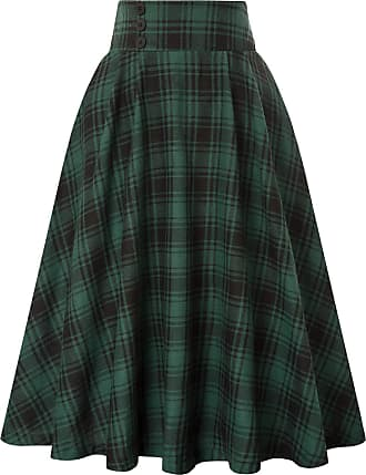 Belle Poque Vintage Well Elastic Pocketed Wiggle Skirts Evening Party for Women Grid-2 32 X-Large