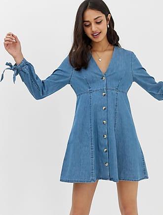 Asos Denim - Vestito da giorno di jeans blu lavaggio medio con maniche con laccetti