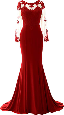 MACloth Women Mermaid Lace Evening Gown Long Sleeves Mother of The Bride Dress (UK10, Burgundy)