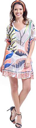 101 Resort Wear Vestido 101 Resort Wear Mangas 3/4 Saia Evase com Babados Crepe Estampado Multicolorido