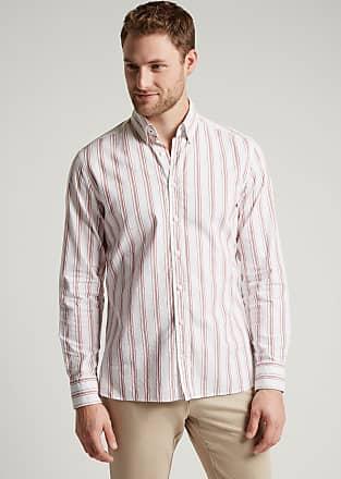 Hackett Mens Cotton-Linen Stripe Shirt | Medium | Red/White