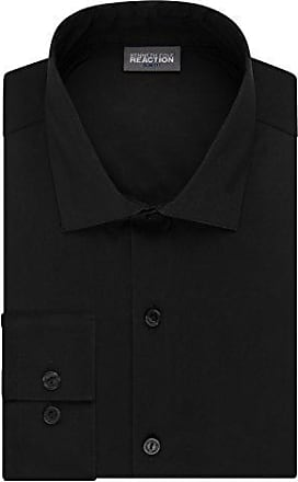 Kenneth Cole Reaction Kenneth Cole Reaction Mens Technicole Slim Fit Stretch Solid Spread Collar Dress Shirt, Black, 15 Neck 32-33 Sleeve