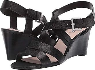 Elie Tahari Violette Wedge Sandal (Black Leather) Womens Shoes