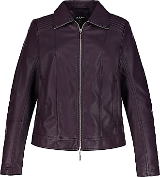 Ulla Popken Womens Plus Size Faux Leather Jacket Aubergine 20 717323 87-46