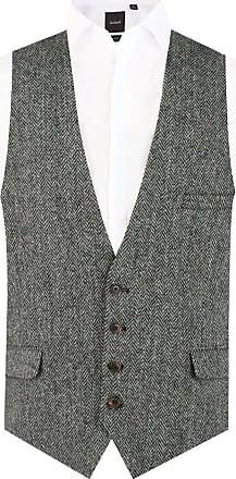Dobell Scottish Harris Tweed Mens Black/Grey Herringbone Waistcoat Regular Fit 100% Wool Low Cut-XL (46-48in)