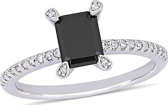 Zales 1 CT. T.w. Emerald-Cut Enhanced Black and White Diamond Engagement Ring in 10K White Gold