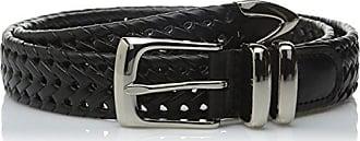 Perry Ellis Mens Portfolio Braided Belt, Black, 30