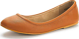 Dream Pairs Womens Slip On Round Toe Ballet Flats Pumps Shoes Sole-Fina Tan Size 6.5 US/ 4.5 UK