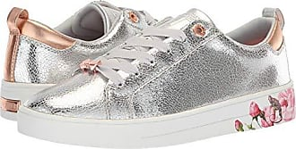 Ted Baker Womens LUOCI Sneaker, Silver Crackle Leather, 5 Medium US