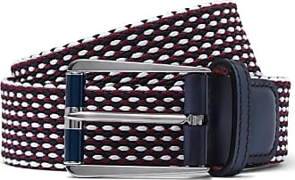 Berluti Leather-trimmed Woven Cotton Belt - Burgundy