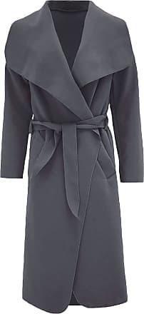 ZEE FASHION Women Italian Long Sleeve Ladies Belted Trench Waterfall Coat Long Jacket Charcoal