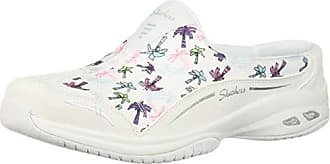 Skechers Womens Commute TIME Holiday-Palm Tree Print Open Back Mule, White, 5 M US