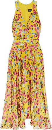 Saloni Rita Wrap-effect Floral-print Devoré-chiffon Midi Dress - Yellow