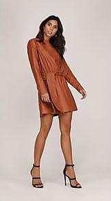 Lebôh Vestido Curto Decote Redondo Elastico Cintura Marrom PP