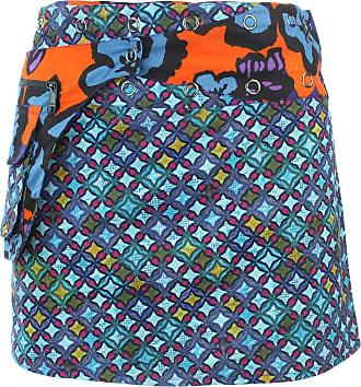 Loud Elephant Reversible Popper Wrap Mini Skirt - Diamond Block/Ikat Floral