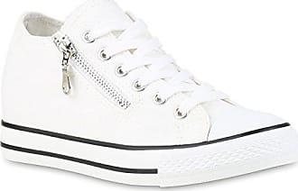 6741aa8cb917 Stiefelparadies Damen Sneaker Wedges Keilabsatz Sneakers Glitzer Zipper  Wedge Turn Metallic Schuhe 123497 Weiss 39 Flandell