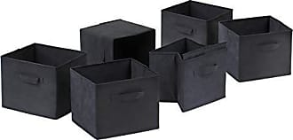 Winsome Winsome 22611 Capri Set of 6 Foldable Black Fabric Baskets, 6 Small