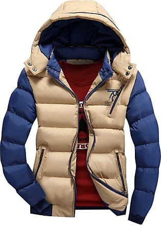 Yonglan Mens Down Feel Jacket Coat Hooded Big Size Cotton Blend Quilted Outerwear Khaki XXL