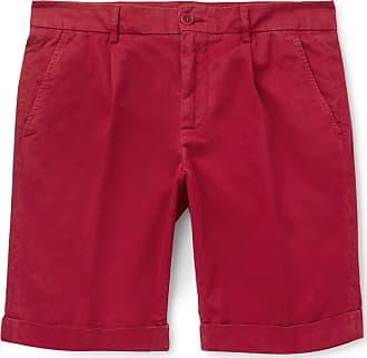 Aspesi Slim-fit Pleated Cotton Shorts - Claret