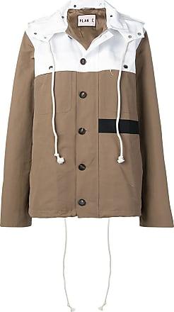 Plan C two-tone hooded jacket - Marrom